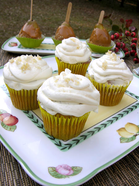 Pumpkin Spice Cupcakes with Ginger Cream Cheese Icing
