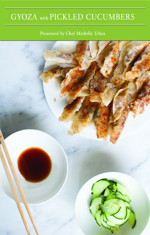 Gyoza with Pickled Cucumbers