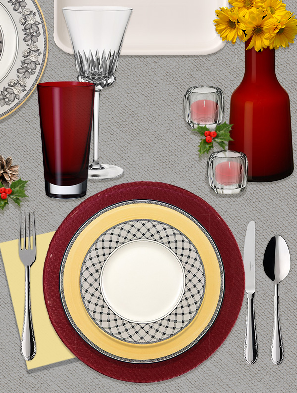 Audun dinnerware with red Verona charger