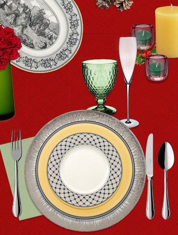 Audun dinnerware with platinum Belissimo charger