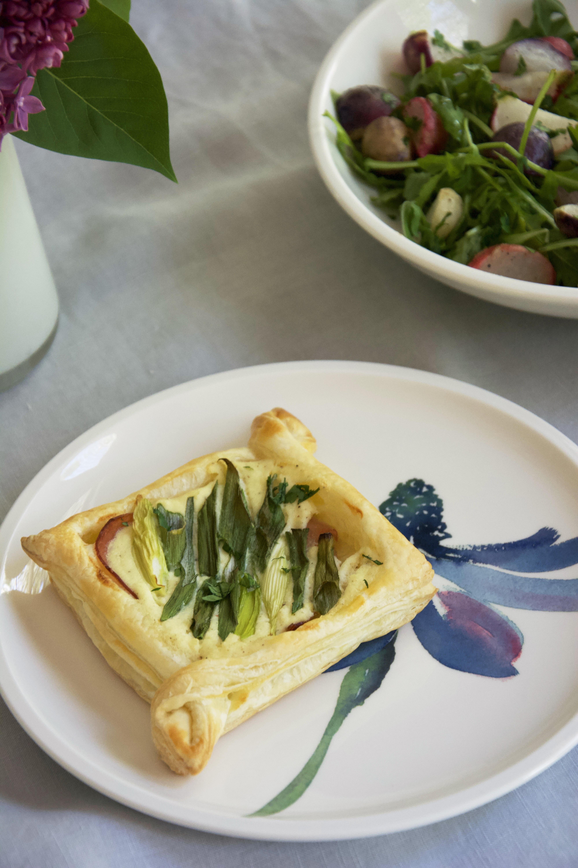 puff pastry on Artesano Flower Art dinnerware